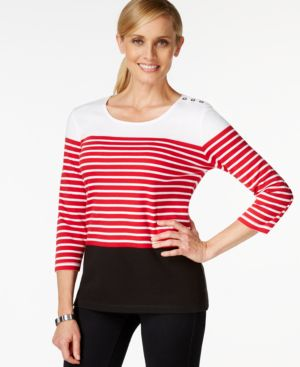 Karen Scott Three-Quarter-Sleeve Striped Top, Only at Macy's