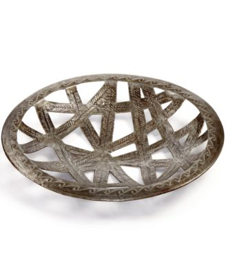 Heart of Haiti Recycled Metal Round Ribbon Cutout Tray