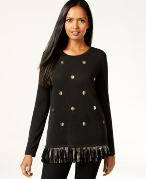 Style & Co. Sequined Foil Hem Sweater Knit Top, Only at Macy's