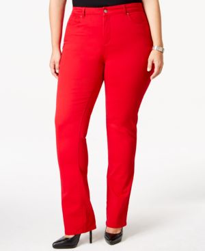Charter Club Plus Size Tummy-Control Straight-Leg Jeans, Red Wash, Only at Macy's