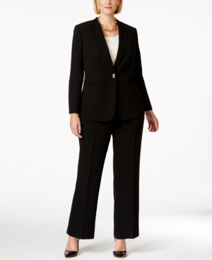 Tahari Asl Plus Size Turn-Key Closure Long-Sleeve Pantsuit