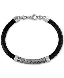EFFY® Men's Woven Bracelet in Leather and Sterling Silver