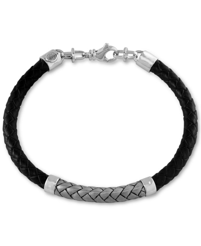 EFFY Collection EFFY® Men's Woven Bracelet in Leather and Sterling Silver & Reviews - Bracelets - Jewelry & Watches - Macy's