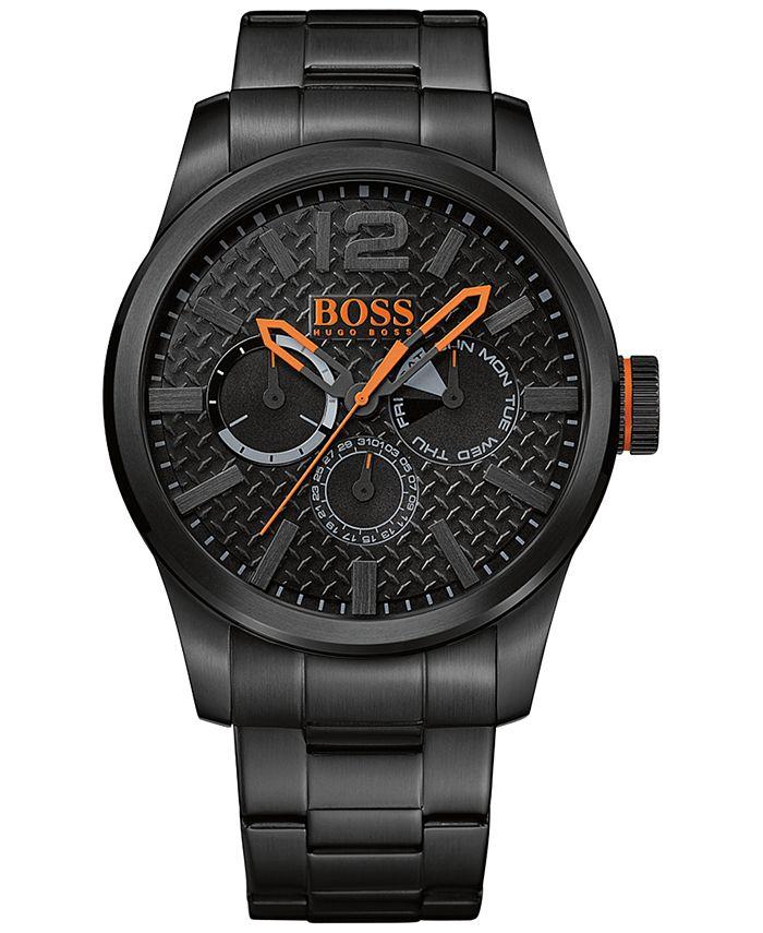 BOSS Orange - Men's Chronograph Paris Black Ion-Plated Stainless Steel Bracelet Watch 47mm 1513239