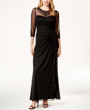 Patra Embellished Illusion Draped Gown $219.00 AT vintagedancer.com