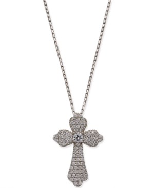 Giani Bernini Cubic Zirconia Pav? Cross Pendant Necklace in Sterling Silver or 18k Gold-Plated Sterling Silver
