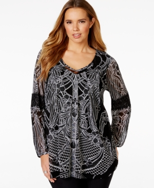 Alfani Plus Size Lace-Trim Printed Tunic, Only at Macy's