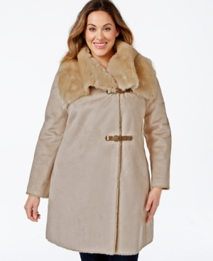 Calvin Klein Plus Size Faux-Shearling Buckled Wrap Coat