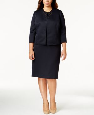 Tahari Asl Plus Size Cutout Skirt Suit
