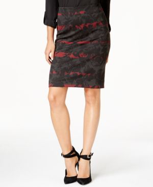 Grace Elements Printed Pull-On Pencil Skirt