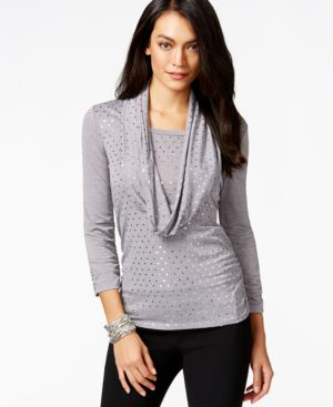 Ny Collection Embellished Ruched Scarf Top