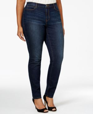 Junarose Plus Size Dark Blue Denim Wash Slim-Fit Jeans