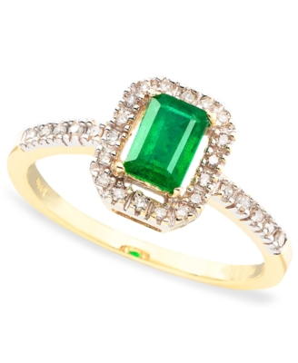 14k Gold Emerald Cut Emerald (3/8 ct. t.w.) & Diamond (1/8 ct. t.w.) Ring
