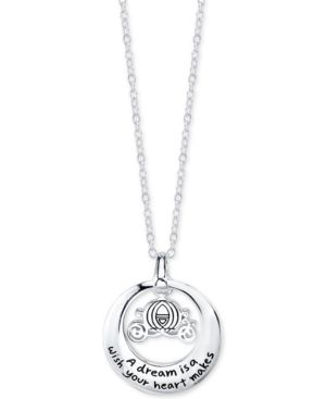 Disney Engraved Cinderella Carriage Pendant Necklace in Sterling Silver