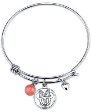 Disney Minnie Mouse Cherry Quartz Charm Bracelet in Stainless Steel