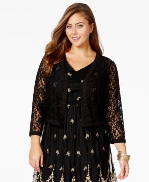 American Rag Plus Size Cropped Lace Cardigan, Only at Macy's