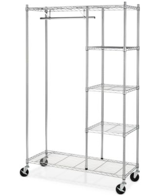 Whitmor Rolling Garment Rack with Shelves