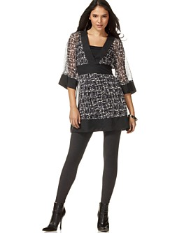 Kensie Silk Empire-Waist Kimono Tunic & Cotton Legging
