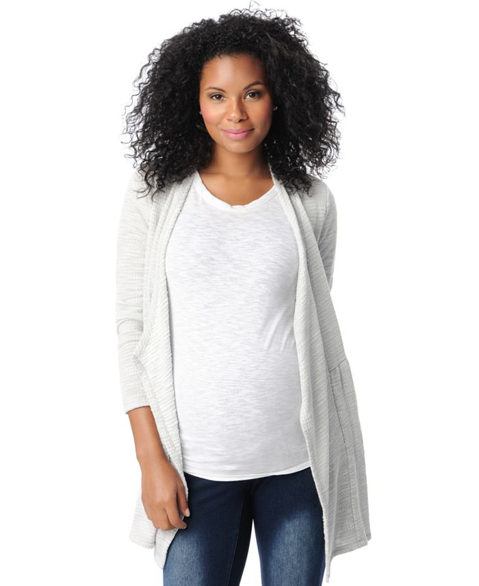 Motherhood Maternity - Maternity French Terry Open-Front Cardigan