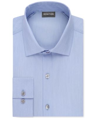 Image of Kenneth Cole Reaction Techni-Cole Stretch Slim-Fit Solid Dress Shirt