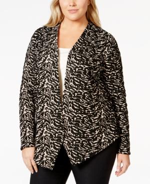 Calvin Klein Plus Size Animal-Printed Textured Jacket