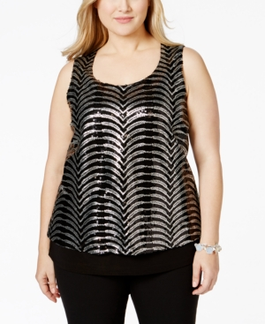 Ny Collection Plus Size Sequined Tank Top