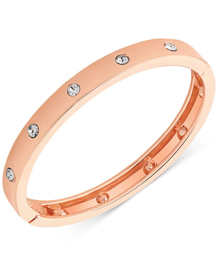 GUESS Rose Gold-Tone Hinge Bracelet with Clear Stones & Reviews - Bracelets - Jewelry & Watches - Macy's