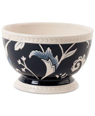 Fitz and Floyd Stoneware Bristol Indigo Floral Soup Bowl