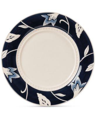 Fitz and Floyd Stoneware Bristol Indigo Floral Dinner Plate