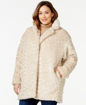 Calvin Klein Plus Size Quilt-Lined Faux-Fur Coat