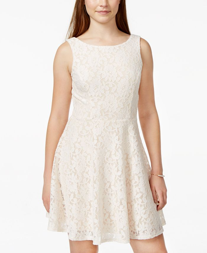 Speechless - Juniors' Lace Fit-and-Flare Tank Dress