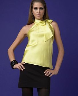 INC International Concepts® Silk Tie-Neck Halter Top :  halter top tie-neck yellow inc international concepts