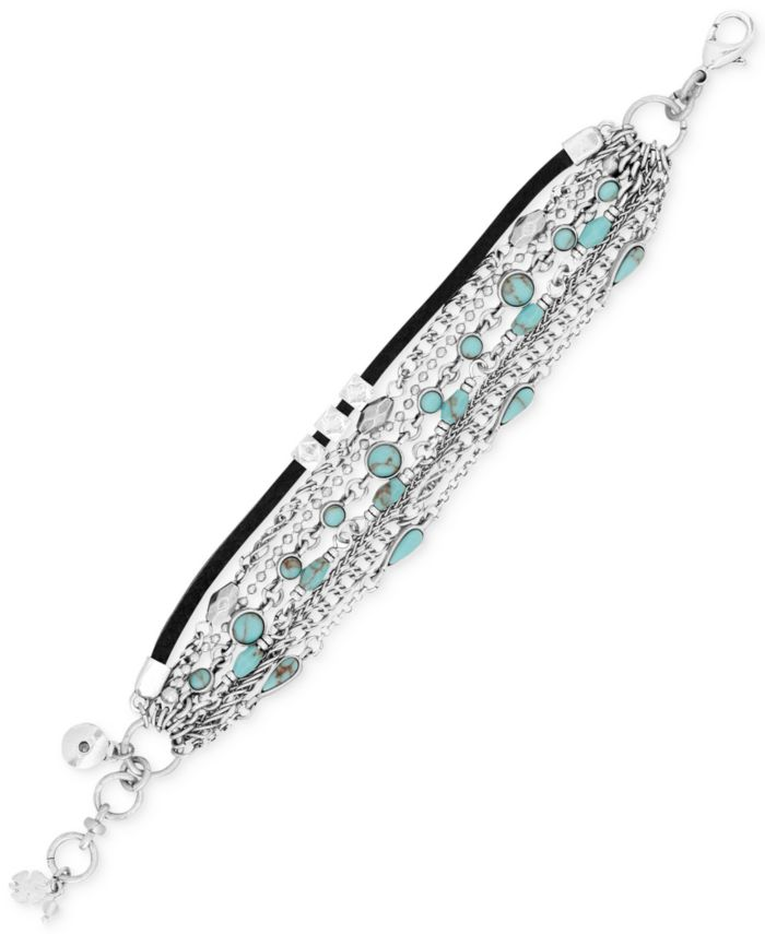 Lucky Brand Silver-Tone Multi-Row Turquoise-Look Bead and Leather Cord Bracelet & Reviews - Bracelets - Jewelry & Watches - Macy's