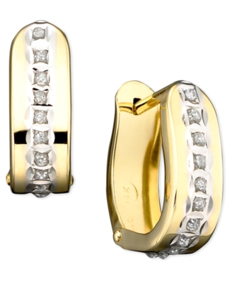 14k Gold Diamond Accent Hinged Hoop Earrings