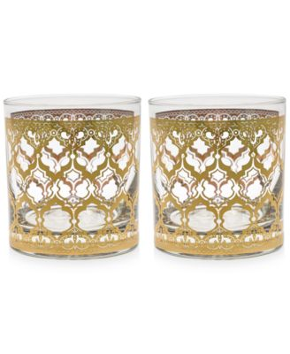 Valencia Gold 22k Double Old-Fashioned Glasses, Set of 2