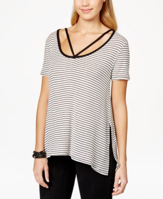 Polly & Esther Juniors Strap-Detail Asymmetrical-Hem T-Shirt