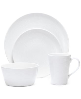 Noritake White On White Swirl Porcelain 4-Pc. Coupe Place Setting