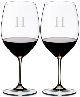Riedel Vinum Monogram Collection 2-Pc. Block Letter Cabernet/Merlot Wine Glasses
