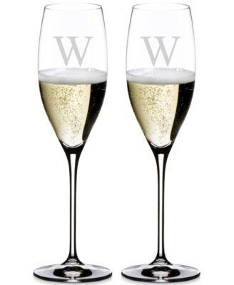 Vinum Monogram Collection 2-Pc. Block Letter Cuvee Prestige Wine Glasses