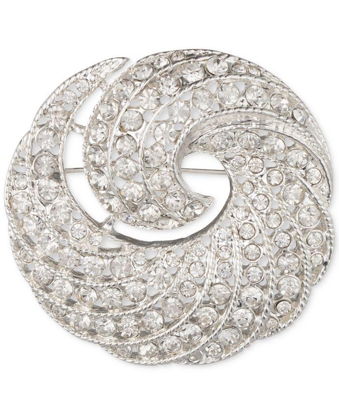 Anne Klein - Silver-Tone Crystal Swirl Pin