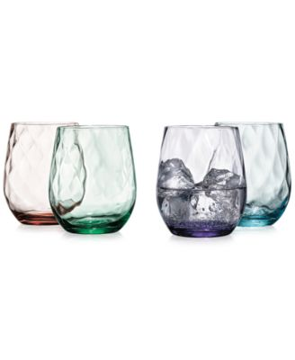 The Cellar Optic Color Collection 4-Pc. Stemless Wine Glasses, Only at Macy's