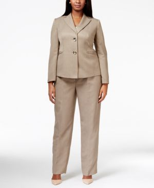 Le Suit Plus Size Two-Button Tonal Stripe Pantsuit