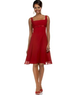 London Times Empire-Waist Dress With Bow in Rouge