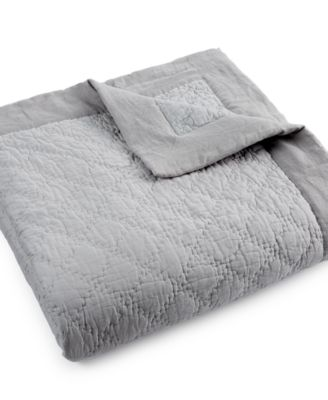 Hotel Collection Linen Turquoise Quilted King Coverlet, Only at Macy's