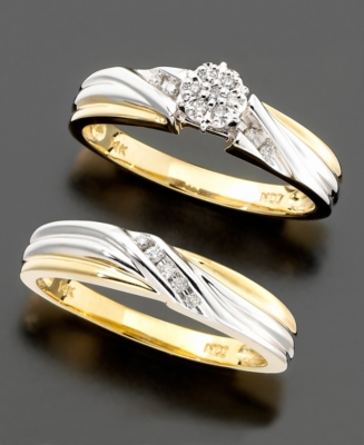 Women's Two-Tone 14k Gold Diamond 2-Piece Bridal Set (1/10 ct. t.w.) - Wedding Band