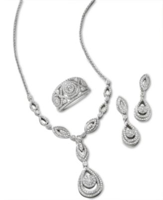 Diamond Dangling Drop Earrings in 14k White Gold (1 ct. t.w.), Created for Macy's