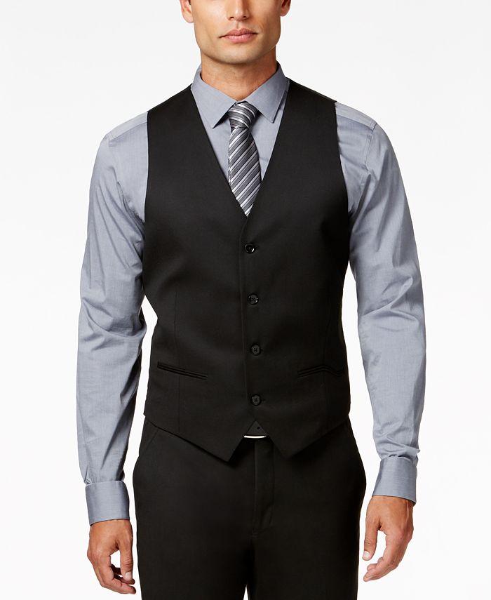Alfani - Men's Traveler Black Solid Slim-Fit Vest
