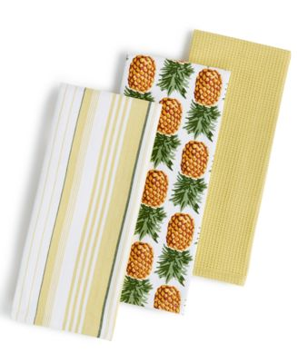 Tommy Bahama 3-Pc. Pineapple Stripe Kitchen Towels Set