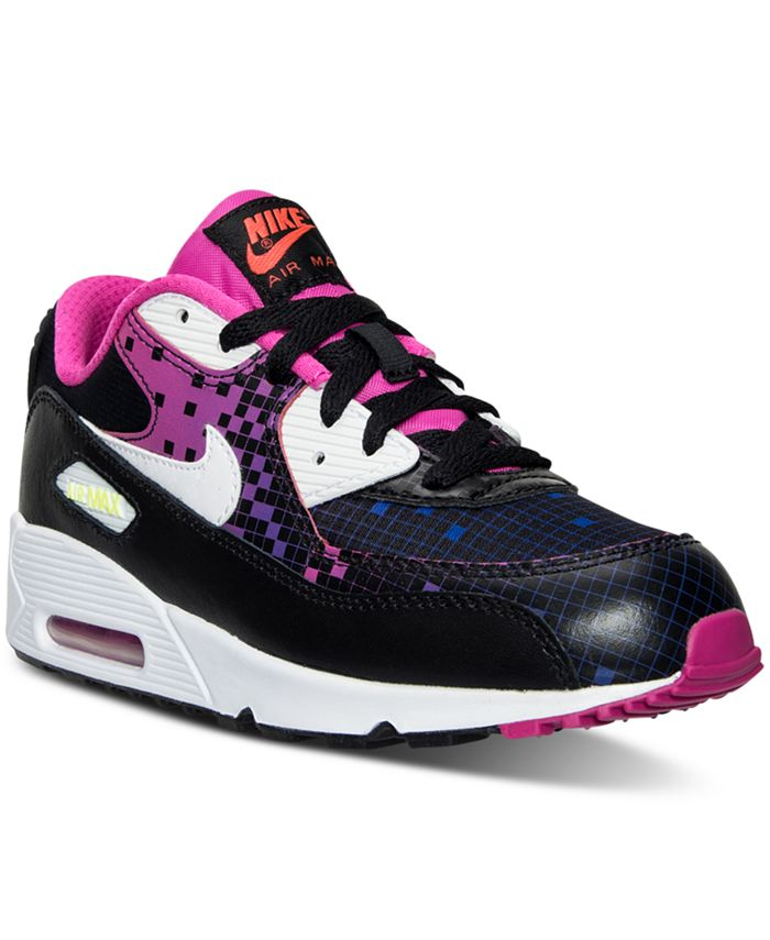 Nike - Little Girls' Air Max 90 Premium Mesh Running Sneakers from Finish Line