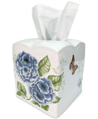 Lenox Blue Floral Garden Tissue Holder